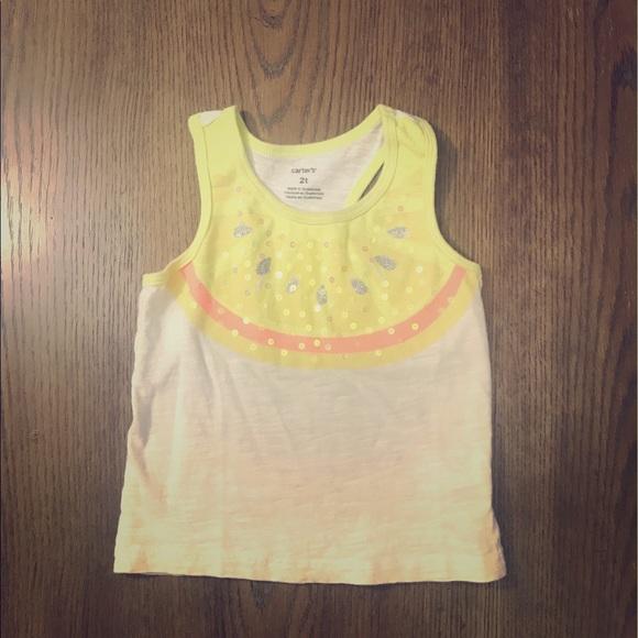 Carters Girls Yellow Sequined Lemon Tank Top
